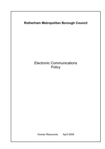 electronic communications policy - Rotherham Metropolitan ...