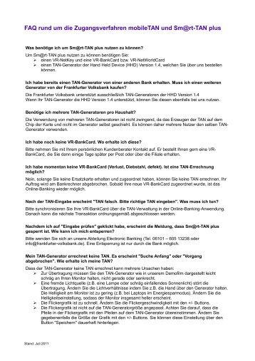 FAQ rund um die Zugangsverfahren mobiletan und Sm@rt-Tan plus