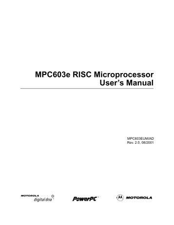 MPC603e RISC Microprocessor User's Manual