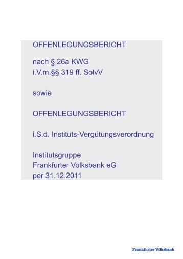 Offenlegungsbericht - Frankfurter Volksbank eg