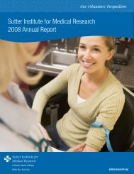 Sutter Institute for Medical Research 2008 Annual Report