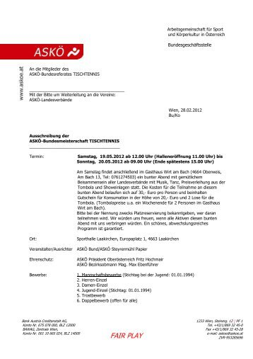 Ausschreibung Allgemein - ASKÖ Steyrermühl Papier