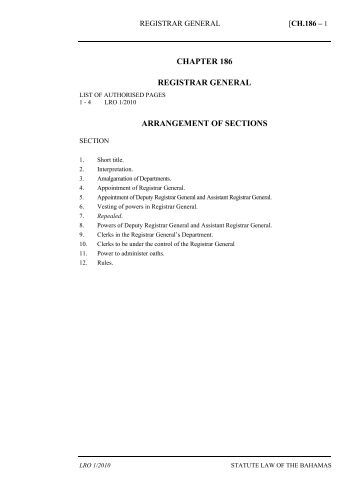 Registrar General Act - The Bahamas Laws On-Line