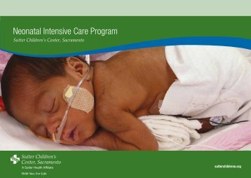 Neonatal Intensive Care Program - Sutter Health Sacramento Sierra ...