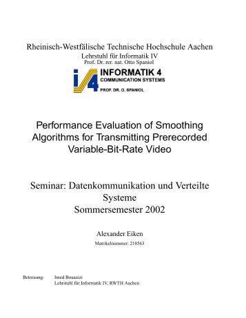 Smoothing-Algorithmen für die Übertragung von Video ... - Informatik 4