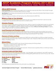 AECP Academic Program Policies 2011-2012 - Arizona State ...