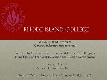 Rhode Island College - RITELL