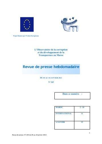 Revue de presse n° 245 du 05 au 10 janvier 2013 - Transparency