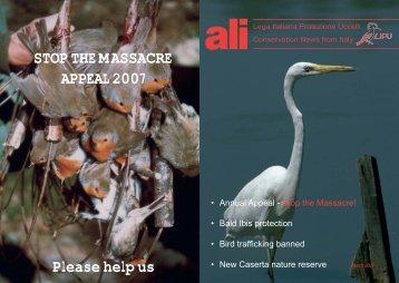 STOP THE MASSACRE APPEAL 2007 Please help us - LIPU-UK