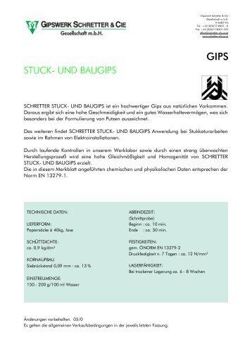 Stuck- und Baugips - Schretter & CIE