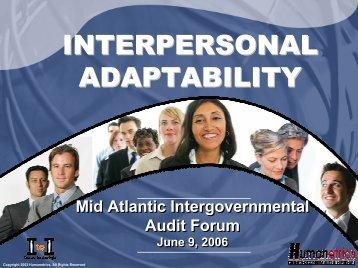 Interpersonal Adaptability Dave Minionis - intergovernmental audit ...