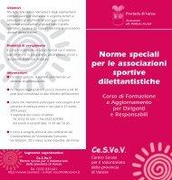 Norme speciali per le associazioni sportive dilettantistiche - Cesvov