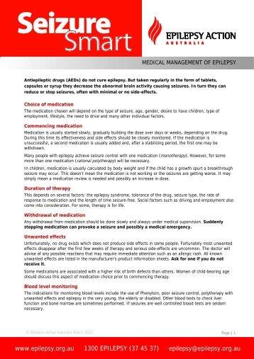 Medical Management of Epilepsy - Epilepsy Action Australia