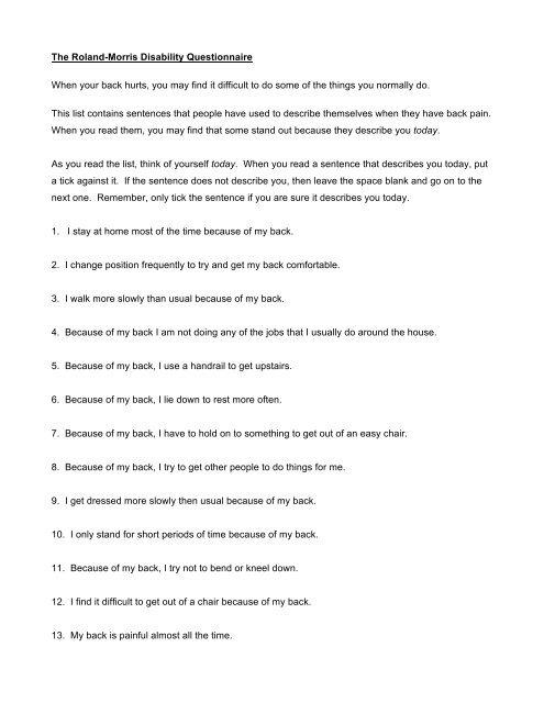 roland morris disability questionnaire pdf