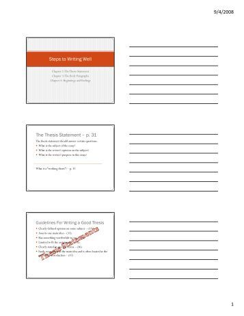 Steps in writing a thesis statement