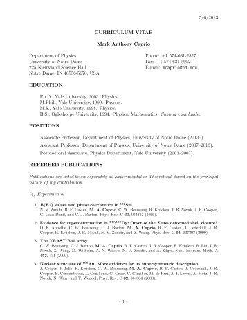 Full Curriculum Vitae for Prof. Caprio - Physics Department ...