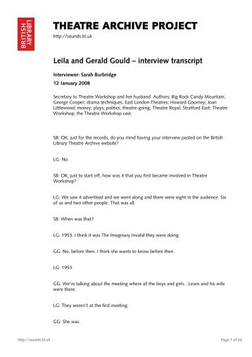 Full transcript of the interview - British Library - Sounds