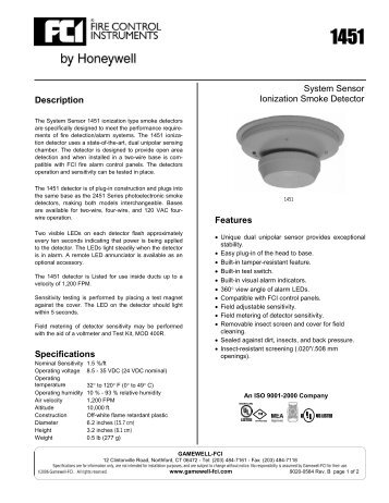 system sensor ionization smoke detector features description ?quality=85 the i 3 series heads and system sensor 2451 wiring diagram at panicattacktreatment.co