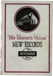 His Master's Voice New Records November 1913 - British Library ...