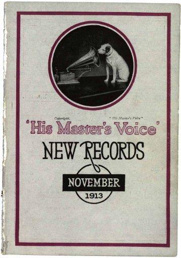 His Master's Voice New Records November 1913 - British Library ...