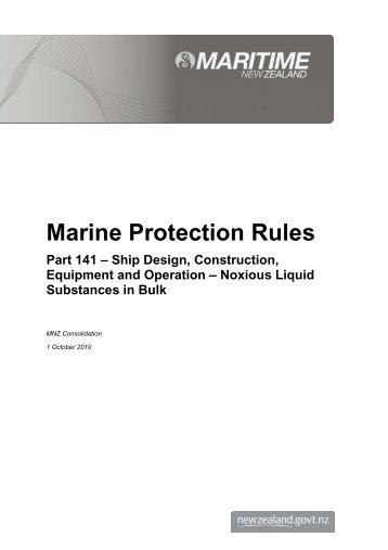 Marine Protection Rules - Part 141 - Maritime New Zealand