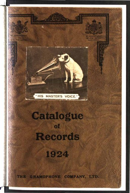 His Master's Voice General Catalogue 1924 - British Library