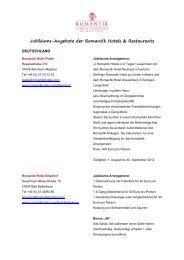 Jubiläums-Angebote der Romantik Hotels & Restaurants