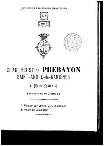 CHARTREUSE de PREBAYON - Cartusiana
