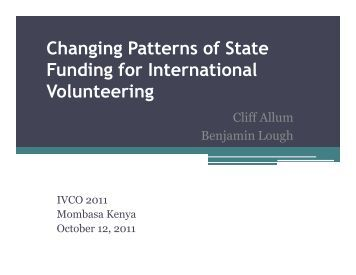 Changing Patterns of State Funding for International Volunteering