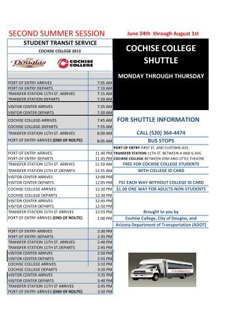 Cochise College Bus Summer Schedule - City of Douglas Arizona