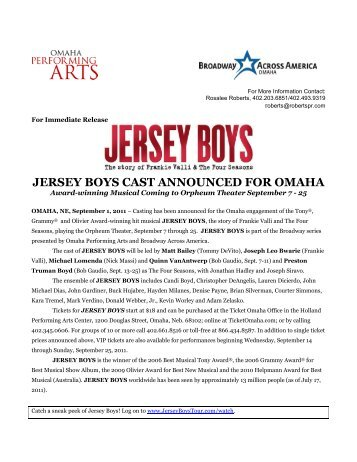jersey boys cast announced for omaha - Omaha Performing Arts