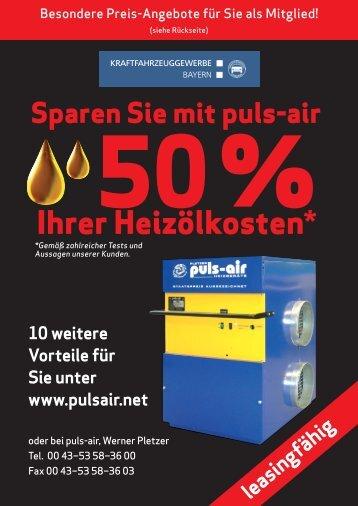 Sparen Sie mit puls-air 50% Ihrer Heizölkosten - Kfz-Innung