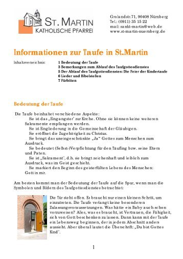 Allgemeine Informationen zur Taufe - Stadtkirche Nürnberg