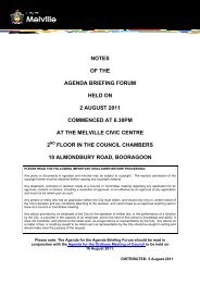 notes of the agenda briefing forum held on 2 august ... - City of Melville