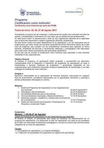 Programa Certificación como instructor - Tecnológico de Monterrey ...
