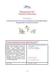 Chancengleichheit für Frauen und Männer auf dem Arbeitsmarkt - EZA