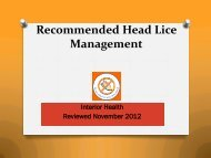 Recommended Head Lice Management - Interior Health