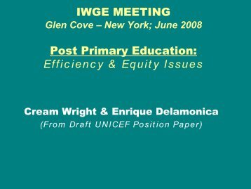 Universal post primary education: Costs estimates and ... - IIEP