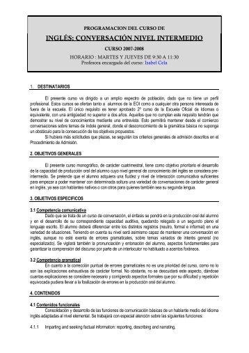 inglés: conversación nivel intermedio - Escuela Oficial de Idiomas ...