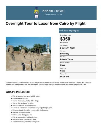 Overnight Tour to Luxor from Cairo by Flight - Memphis Tours Egypt