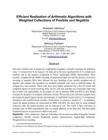 Efficient Realization of Arithmetic Algorithms with Weighted ...