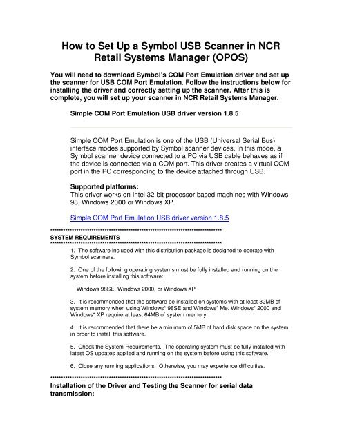 How to Set Up a Symbol USB Scanner in NCR Retail Systems