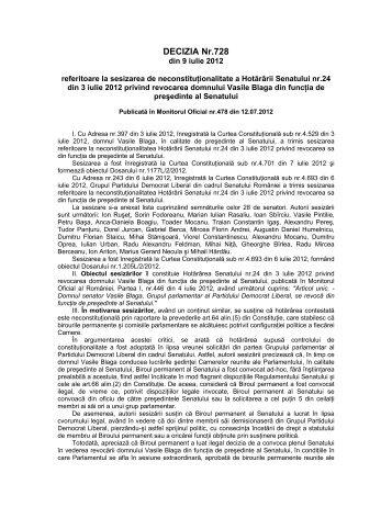 7. Decizia nr. 728 din data de 09.07.2012 - Curtea Constituţională a ...