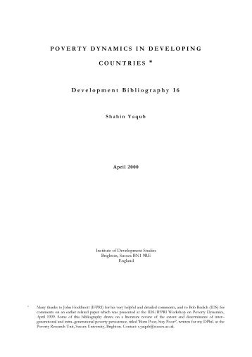 POVERTY DYNAMICS IN DEVELOPING COUNTRIES ... - OPHI