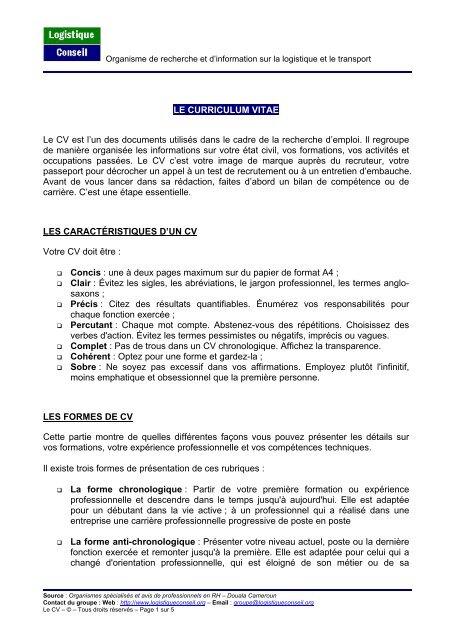 Curriculum Vitae Logistique Conseil