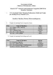 Government of India Ministry of Parliamentary Affairs Result of 22nd ...