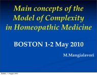 Main concepts of the Model of Complexity in Homeopathic Medicine