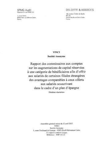 VINCI - Rapport des commissaires aux comptes sur les ...