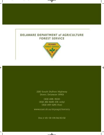 DELAWARE DEPARTMENT of AGRICULTURE FOREST SERVICE