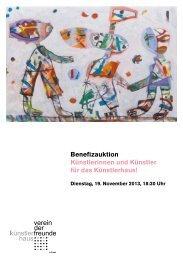 Benefizauktion Künstlerinnen und Künstler für das Künstlerhaus!